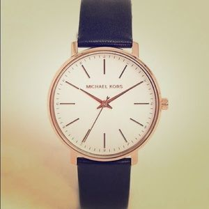 Navy blue and gold leather Michael Kors watch
